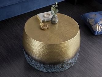 Stolik kawowy z młotkowanego aluminium optik  podpalany złoty 60 cm