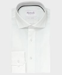 Elegancka biała koszula ze splotem oxford michaelis z kołnierzem włoskim 37
