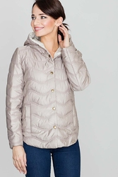 Beżowa pikowana kurtka zapinana na zatrzaski z kapturem