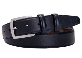 Elegancki czarny pasek skórzany męski 3,5cm 90