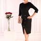 Dzianinowa czarna dopasowana sukienka z guzikami