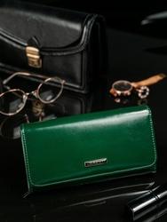 Skórzany portfel damski zielony lorenti 76110 - zielony