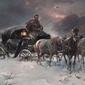 podróżnik zimową nocą - alfred wierusz-kowalski ; obraz - reprodukcja