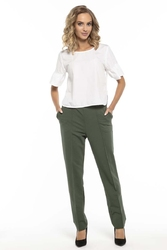 Eleganckie zielone spodnie dzianinowe w kant