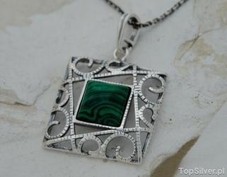 Simple - srebrny wisiorek z malachitem