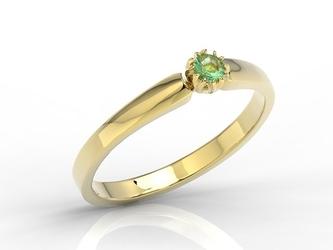 Pierścionek zaręczynowy z żółtego złota ze szmaragdem bp-2110z