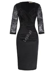 Czarna koronkowo satynowa sukienka wieczorowa z długim rękawem