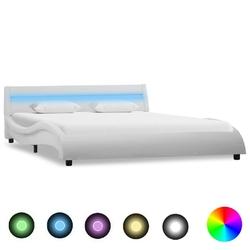 Vidaxl rama łóżka z led, biała, sztuczna skóra, 120 x 200 cm