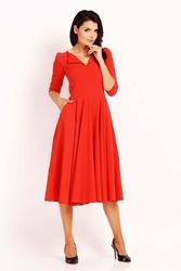 Czerwona sukienka midi z rozkloszowanym dołem