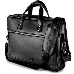 Skórzana męska torba na laptopa solier czarna - jednokomorowa  czarny