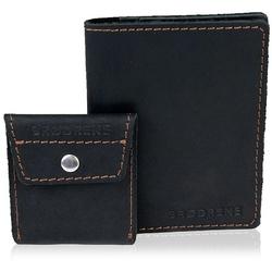 Skórzany zestaw portfel i bilonówka brodrene sw07 + cw02 czarny - czarny