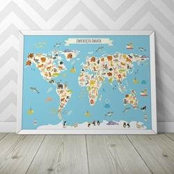 Mapa zwierząt świata - plakat dla dzieci , wymiary - 18cm x 24cm, kolor ramki - biały