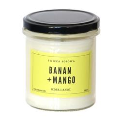 Świeca sojowa banan + mango - aromatyczna ręcznie robiona naturalna świeca zapachowa w słoiczku 300ml