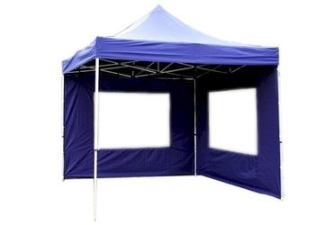 Namiot ogrodowy 3x3 m ekspresowy, niebieski pawilon handlowy ze ściankami