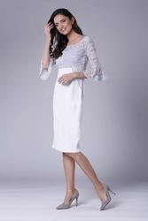 Szaro ecru wizytowa dopasowana sukienka z koronką