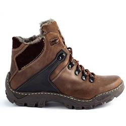 Buty męskie zimowe śniegowce 119 trekkingowe brązowe