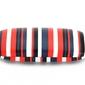 Twarde etui futerał na okulary czerwono-granatowe paski et-102b