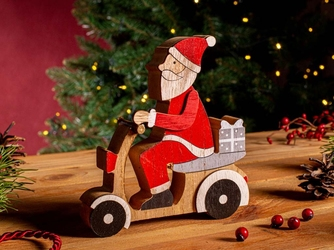Figurka  ozdoba  dekoracja świąteczna drewniana święta boże narodzenie altom design mikołaj na skuterze 15 x 4 x 16 cm