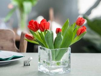 Wazon szklany na kwiaty edwanex kwadratowy 10 cm