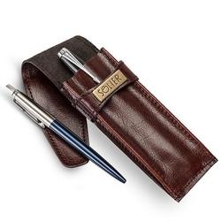 Skórzane etui na długopisy, pióro solier sa12 bordowe - bordowy