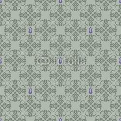 Obraz na płótnie canvas czteroczęściowy tetraptyk Bezszwowe zielone i fioletowe tapetą z motywem kwiatowym