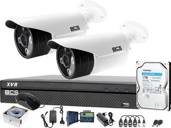 Zestaw bcs do monitoringu sali gimnastycznej 2 kamery bcs-tqe3200ir3-b rejestrator bcs-xvr0401-iv dysk 1tb