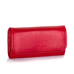 Duży klasyczny portfel damski ze skóry naturalnej brodrene a-11 czerwony