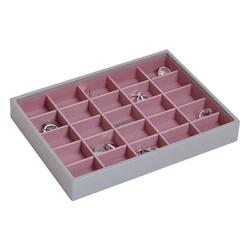 Pudełko na biżuterię 25 komorowe classic Stackers szaro-różowe