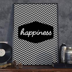 Happiness - plakat typograficzny , wymiary - 50cm x 70cm, ramka - biała