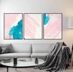 Zestaw trzech plakatów - pink marine , wymiary - 70cm x 100cm 3 sztuki, kolor ramki - czarny