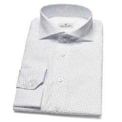 Elegancka biała koszula van thorn w błękitny wzorek 42