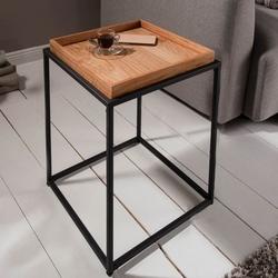 Kwadratowy stolik kawowy elements z dębowym blatem  40x40 cm