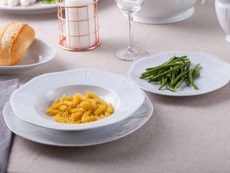 Zestaw talerzy obiadowy dla 6 osób porcelana mariapaula geometria biała komplet 18 elementów
