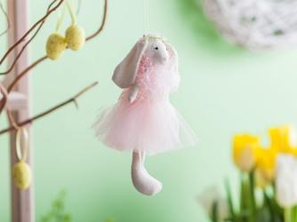 Ozdoba wielkanocna  zawieszka świąteczna zając w sukience z tiulu i piór altom design 20 cm