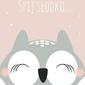 Śpiąca sowa różowe tło - plakat wymiar do wyboru: 59,4x84,1 cm