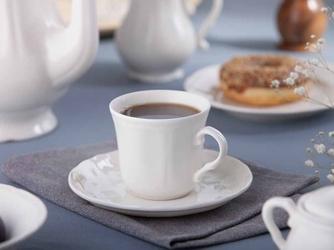 Filiżanka do kawy porcelanowa ze spodkiem karolina castel 210 ml + 15 cm