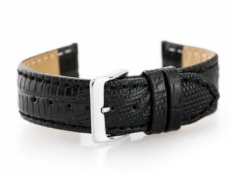 Pasek skórzany do zegarka w08 - premium - czarny- 20mm