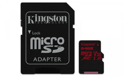 Kingston microSD  64GB Canvas React 10080MBs adapter U3 UHS-I V30 A1