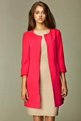 Różowy elegancki długi  żakiet z rękawem 34