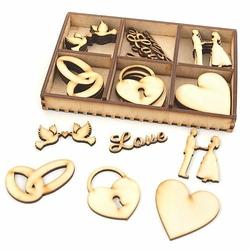 Drewniane ozdoby 30 szt. LOVE Ślub - LOVE