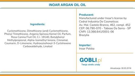 Inoar argan oil olejek nawilżający i wygładzający suche włosy 7ml