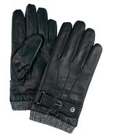 Eleganckie męskie skórzane czarne rękawiczki profuomo z dzianinowym mankietem  9,5