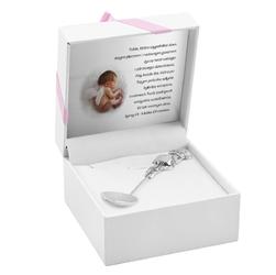 Łyżeczka srebrna 925 aniołek z zegarem i miejscem na ząbek grawer różowa wstążka
