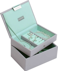 Szkatułka na biżuterię stackers podwójna mini szaro-miętowa