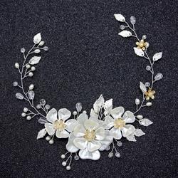 OZDOBA DO WŁOSÓW liście KWIATY perły ŚLUBNA biała - 34933