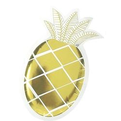 talerzyki papierowe w kształcie ananasa ze złotymi listkami 6 szt.