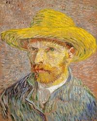 Autoportret w kapeluszu słomkowym, vincent van gogh - plakat wymiar do wyboru: 70x100 cm