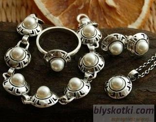 Doria - srebrny komplet z perłą