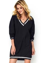 Czarna dzianinowa prosta sukienka ze ściągaczami