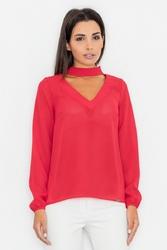 Czerwona elegancka lekka bluzka z wyciętym dekoltem